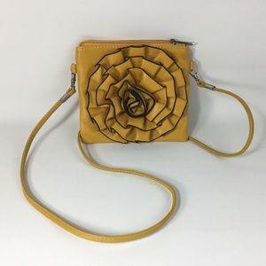 Handbags - Mini Cross Body Bag Purse Yellow Gold Flower